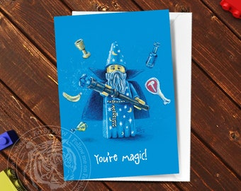 Lego Greeting Card, Lego Gifts, Lego Wizard, Minifigure Card, Pastel Pencil Drawing, Hand Drawn Print
