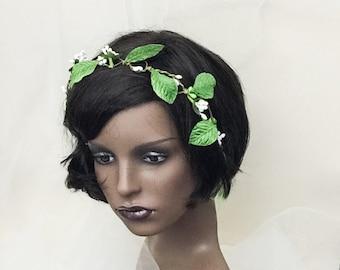 Leaf crown, Bridal crown, bohemian crown, festival flower headdress, woodlands crown, rustic half crown, forest crown, half crown,