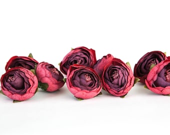 10 Small Vintage Inspired Ranunculus in Red and Burgundy - silk artificial flower -see description- ITEM 01121