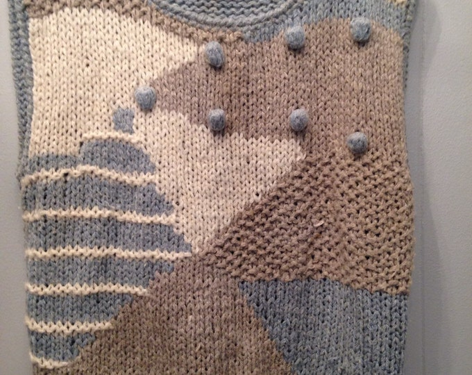 1980's Country Concepts sleeveless marled knit sweater with raised balls