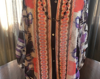 Custom Couture XL purple cream and orange sheer blouse with custom taupe and clear beaded necklace 1515