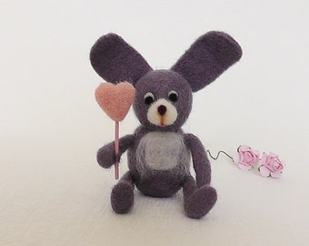 Wife easter gift etsy needle felted bunny easter bunny easter gift bunny with heart girlfriend gift wife gift mothers day negle Images