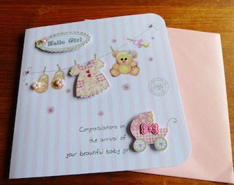 baby girl congratulations with envelloppe baby 3D greeting card