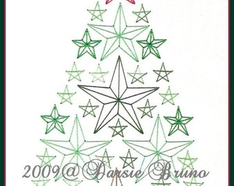 Star Christmas Tree Paper Embroidery Pattern for Greeting Cards