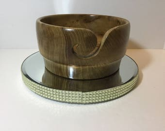Wooden yarn bowl, hand turned from ELM         (ELM20)