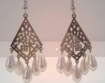 Handcrafted White Glass Pearl Teardrop Chandelier Earrings for Pierced Ears - Laser Cut  Metal Chandeliers - Surgical Steel Fishhooks