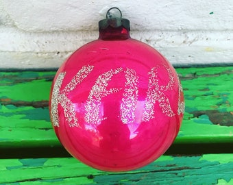Vintage Pink Karen name mercury glass Christmas Ornament