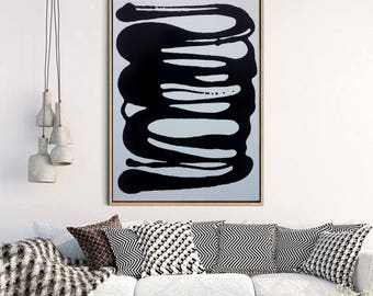 Original Black and White Abstract Painting - Black Glass Paint Drip Art on Primed White Canvas - Customised Abstract Painting MADE TO ORDER