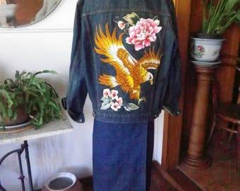 Denim jacket with Eagle motif on back