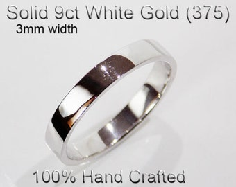 9ct 375 Solid White Gold Ring Wedding Engagement Friendship Friend Flat Band 3mm