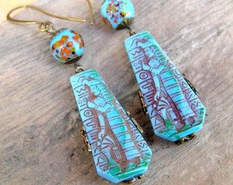 Egyptian Goddess Earrings, Vintage Earrings, Egyptian Revival Jewelry