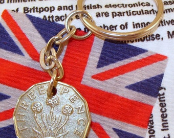 1940 3d 12 Sided Threepence English Coin Keyring Key Chain Fob King George VI