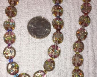 CLEAR Purple Confetti DISC lamp work beads foil wrapped (9) 12 MM green blue yellow orange pink disc bead coin bead