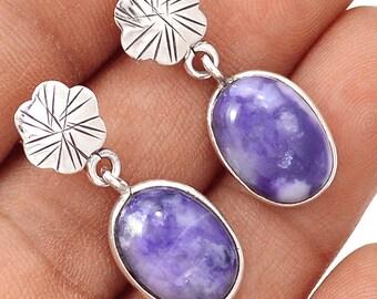 Authentic Murado Opal / Tiffany Stone Cabs. Sterling Silver Earrings. 1 1/4'' Long. 9279