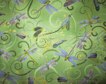 Dragonfly Dragon Fly Light Green Gold Thread Cotton Fabric Fat Quarter Or Custom Listing