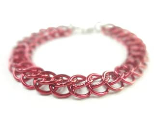 Red Chainmaille Bracelet Persian Weave In Anodized Aluminum