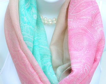 Pastel Color Paisley Print Infinity Scarf. Mint Green,Pink, Beige Scarves. Lightweight Scarf.Spring Scarf.Summer Scarf.Summer Infinity Scarf