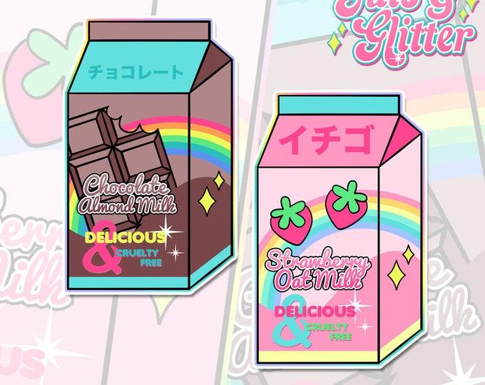 Strawberry Oat/Chocolate Almond, Choice of Vegan Milk V2 Holographic Sticker