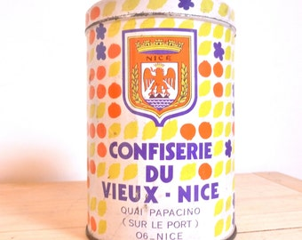 Box vintage candy candy old NICE France french VINTAGE sweet candy box shabby chic coat of arms