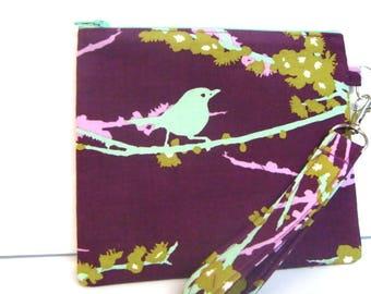 Zipper Purse, Coin Pouch Purse Makeup Pouch  with Detachable Handle Birds on Plum