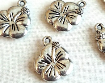 Lot 5 tiare flower charms / Hibiscus - silver - 12x15mm