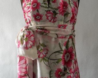 Ivory Floral print Cotton Halter Wrap tunic