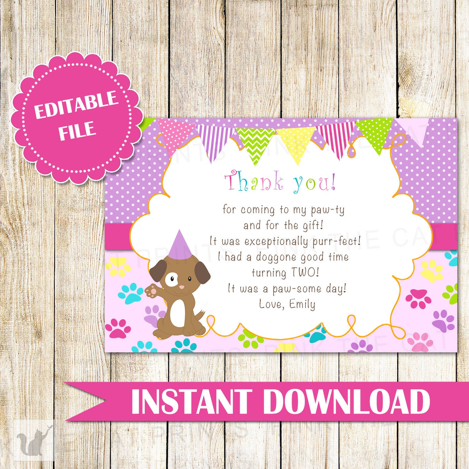 Puppy Pawty Thank You Card Note Kids Birthday Girl Purple