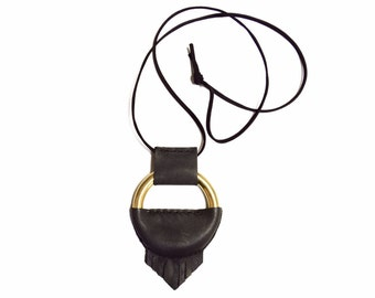 Half Leather Wrapped Angled Fringe O-Ring Necklace, Long Fringe Necklace, Leather Circle Necklace