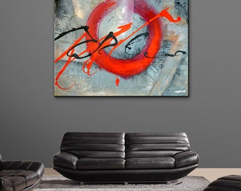 Modern abstract painting by Dranitsin - THE SACRIFICE - original acrylic painting with heavy texture