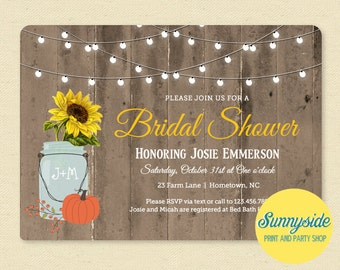 Rustic Fall Bridal Shower Invitation // Barnwood Pumpkin Sunflower & Lights Shower Invite // Printable or Printed wedding shower invitations