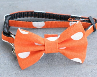 Orange Large White Polka Dots Bow Tie small available