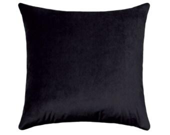 Black Velvet Pillow Cover, Black Pillow, Velvet Pillow, Solid Black Velvet Cushion, Decorative Pillows, Obsession Black Velvet Throw Pillow