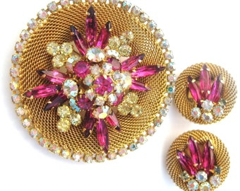 50s Vintage Hobe Set Pin + Earring Signed, Yellow & Pink Rhinestone on Gold Tone Mesh, Brooch Demi Parure, Exquisite Fuchsia Citrine