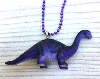 Kitsch dinosaur pendant, dinosaur necklace, purple dinosaur, cute necklace, kids Jewellery, quirky dinosaur necklace
