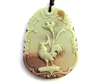 Chinese Zodiac Rooster Amulet Charm Pendant Two Layer Natural Stone One Bead 50mm x 38mm  ZP026