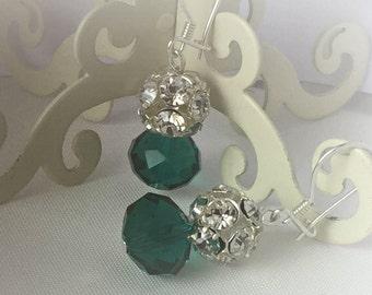 Clothing Gift , Bridesmaids Gift Earrings ,Emerald Crystal and Rhinestone  Earrings