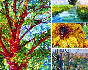 Summer 4 - fine art print note card landscape tree wetlands sunflower hillside