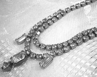 Vintage Rhinestone Choker Necklace, Clear Rhinestones, Wedding Necklace, Bridal Necklace, Bridal Choker, Bib Necklace, Statement Necklace