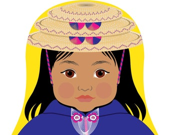 Colombian Misak or Guambiana Wall Art Print with traditional dress drawn in a Russian matryoshka nesting doll shape