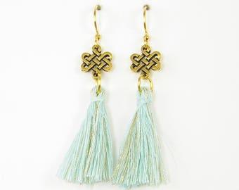 Gold Celtic Knot Earrings with Aqua Tassels, Aqua Gold Fringe Earrings, Endless Knot Earrings, Aqua Gold Thread Earrings |EB2-11