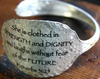 Proverbs 31:25 Spoon Bracelet, Unique Design Bracelet, Scripture Bracelet, Silverware Jewelry, Gift for Friend, Mom, Sister, Daughter