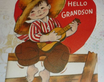 Boy With Guitar - Hello Grandson Vintage Norcross Valentine
