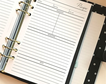 Recipe Planner Inserts Half Letter Size for A5 Planners