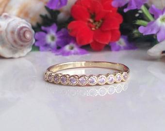 20% off- SALE!! Rose Quartz Ring - October Birthstone - Tiny Ring - Stack Ring - Gemstone Ring - Gold Ring - Bezel Ring - Delicate Ring