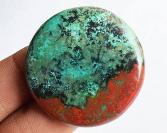 New Arrivals Natural Red Green Sonora Sunset Jasper Round Cabochon, Chrysocolla, Red Cuprite, Pendant Cab, Jewellery Making, Sonoran AG-9059