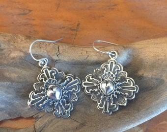 E126 The Truchas Cross with overlay Taos Heart Sterling Silver Southwestern Native Style Earrings
