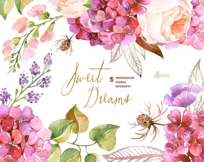Dulces sueños: 5 Ramos de flores de acuarela invitación de la