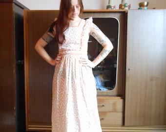 1970s Prairie Hippie Floral Pinafore Dress