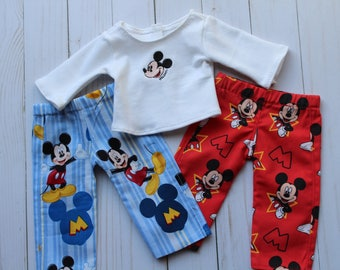 """Mouse Pajamas, 18"""" Doll PJ's, Lounge Pants to Fit Like American Boy Doll Clothes or American Girl Doll Clothes, 18"""" Boy Doll Clothes"""