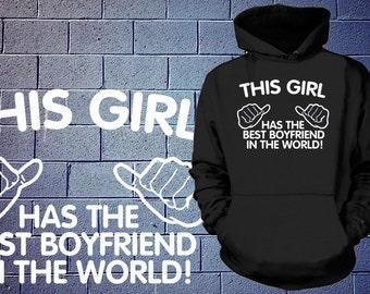 Gift For Girlfriend  Best Boyfriend In The World Ladies Hoodie Sweatshirt Gift For Girlfriend Sweater